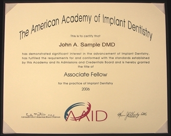 Associate fellow af aaid american academy of implant dentistry are you ready to begin yelopaper Image collections